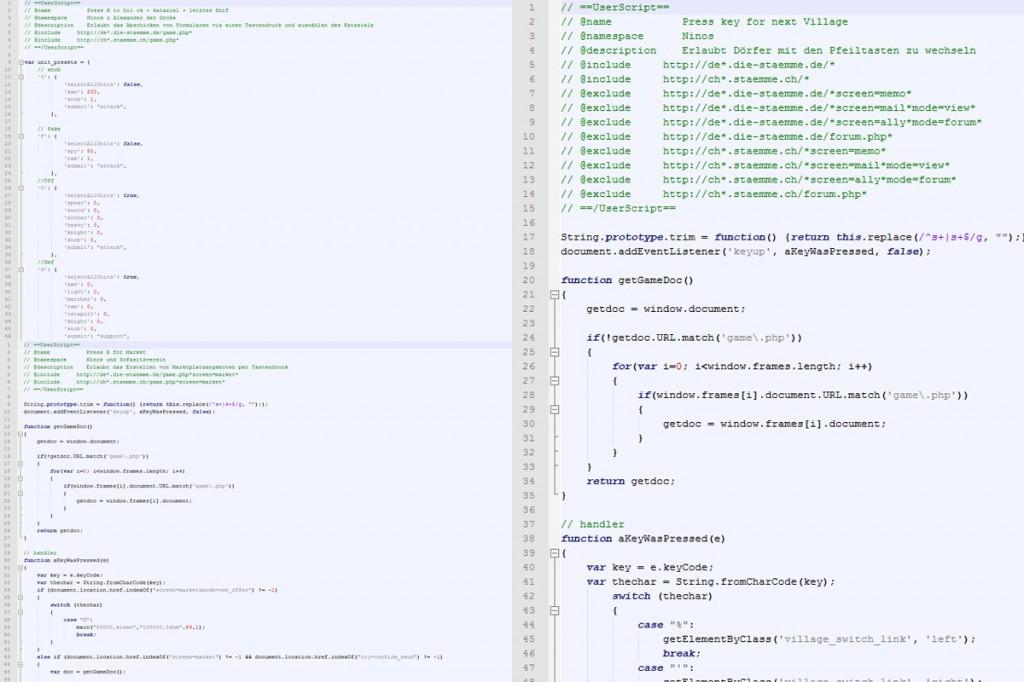Screenshot von den Userskripten