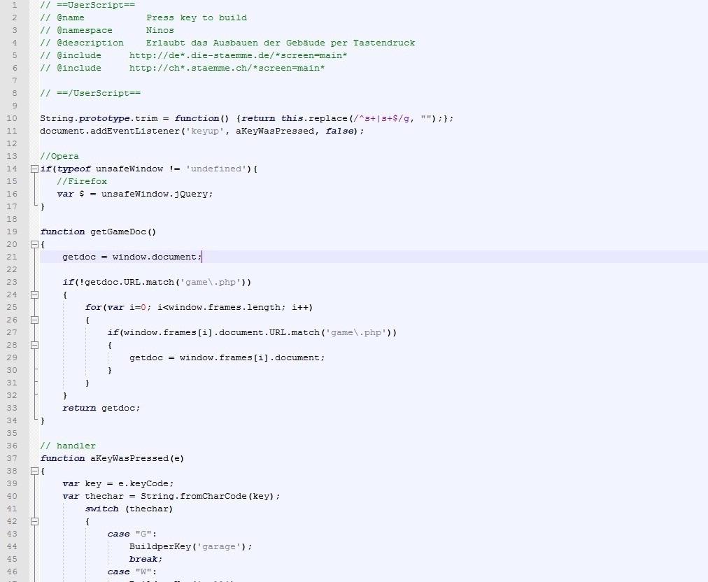 Screenshot von Press key to build